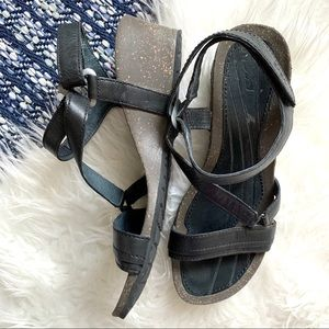 Teva cabrillo crossover wedge sandal black leather